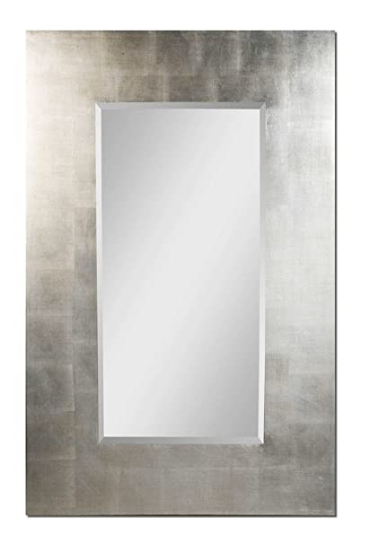 large silver wall mirror champagne silver extra large 56quot sleek modern silver wall mirror amazoncom 56