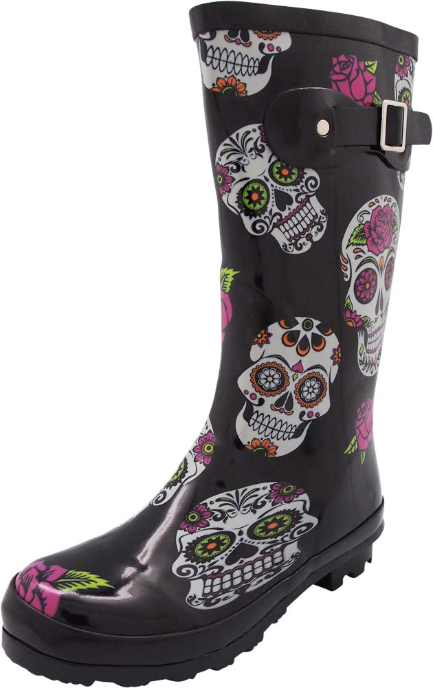 NORTY - Womens Hurricane Wellie Printed Rose Skulls Mid-Calf Rain Boot, Black 40713-9B(M) US