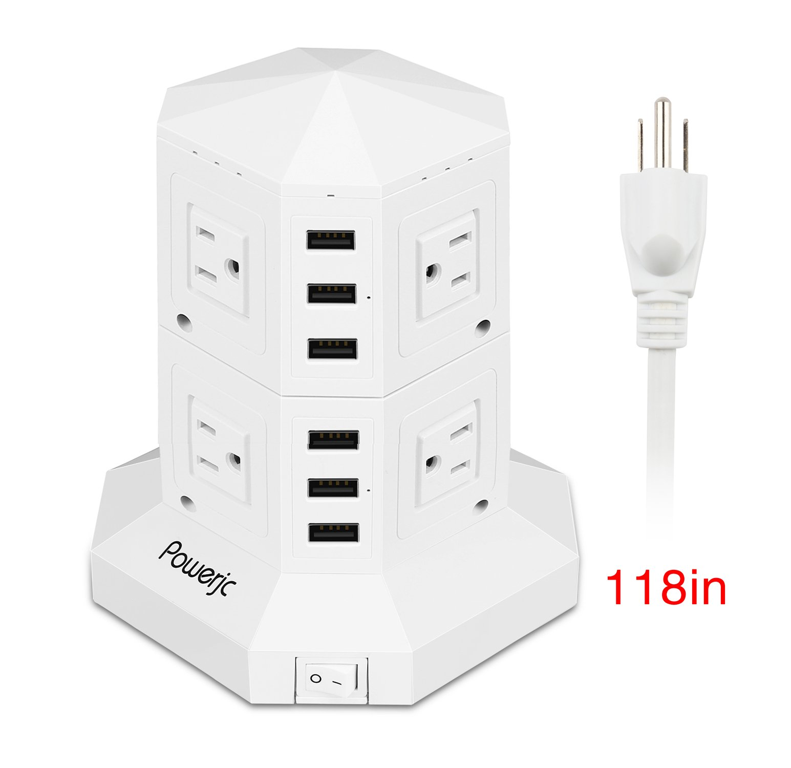 Power Strip Usb Surge Protector Tower 8 AC Outlets with 6 Usb ports Chargers White-Powerjc