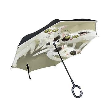 BENNIGIRY - Paraguas exterior negro con diseño de gato con luz ultravioleta y luz antiniebla para