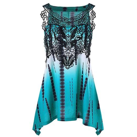 c59f13bb9e7dea vermers Tunic Tops Womens Casual Lace Printing Sleeveless Vest Shirt Tank  Blouse (Bule