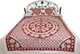 White Bedsheet from Pilkhuwa with Printed Chakravhuh of Elephants - Pure Cotton with Pillow Covers - Color Ruby Wine Color