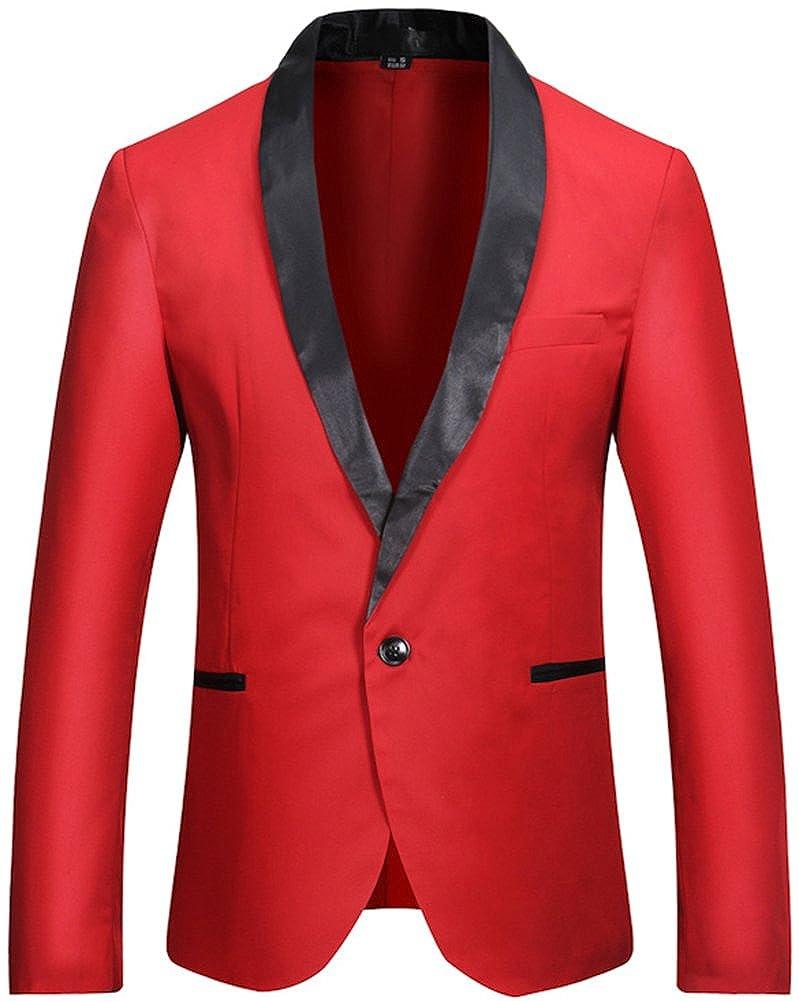 D-Sun Men's Slim Fit Blazer Jacket Solid Cotton Casual One Button Sport Coats