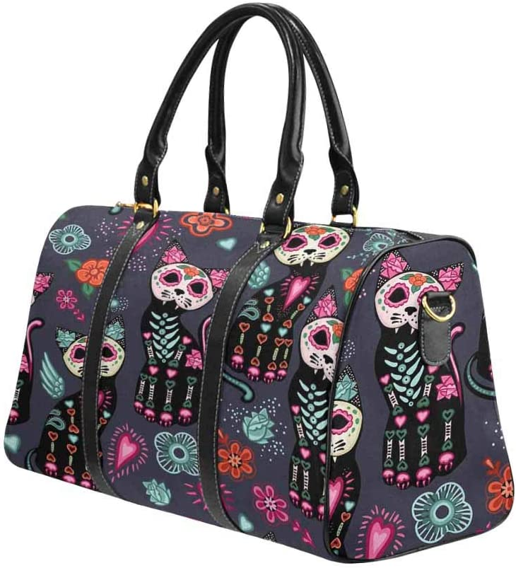InterestPrint Unisex Duffel Bag Carry-on Bag Overnight Bag Weekender Bag Cats and Colorful Decorative Flowers