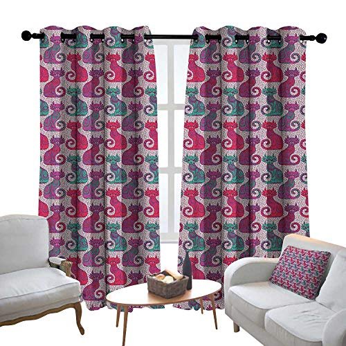 Window Curtain Fabric Purple,Swirls and Curls Background with Damask Inspired Paisleys on the Ethnic Colorful Cat, Multicolor,Rod Pocket Curtain Panels for Bedroom & Living Room 54