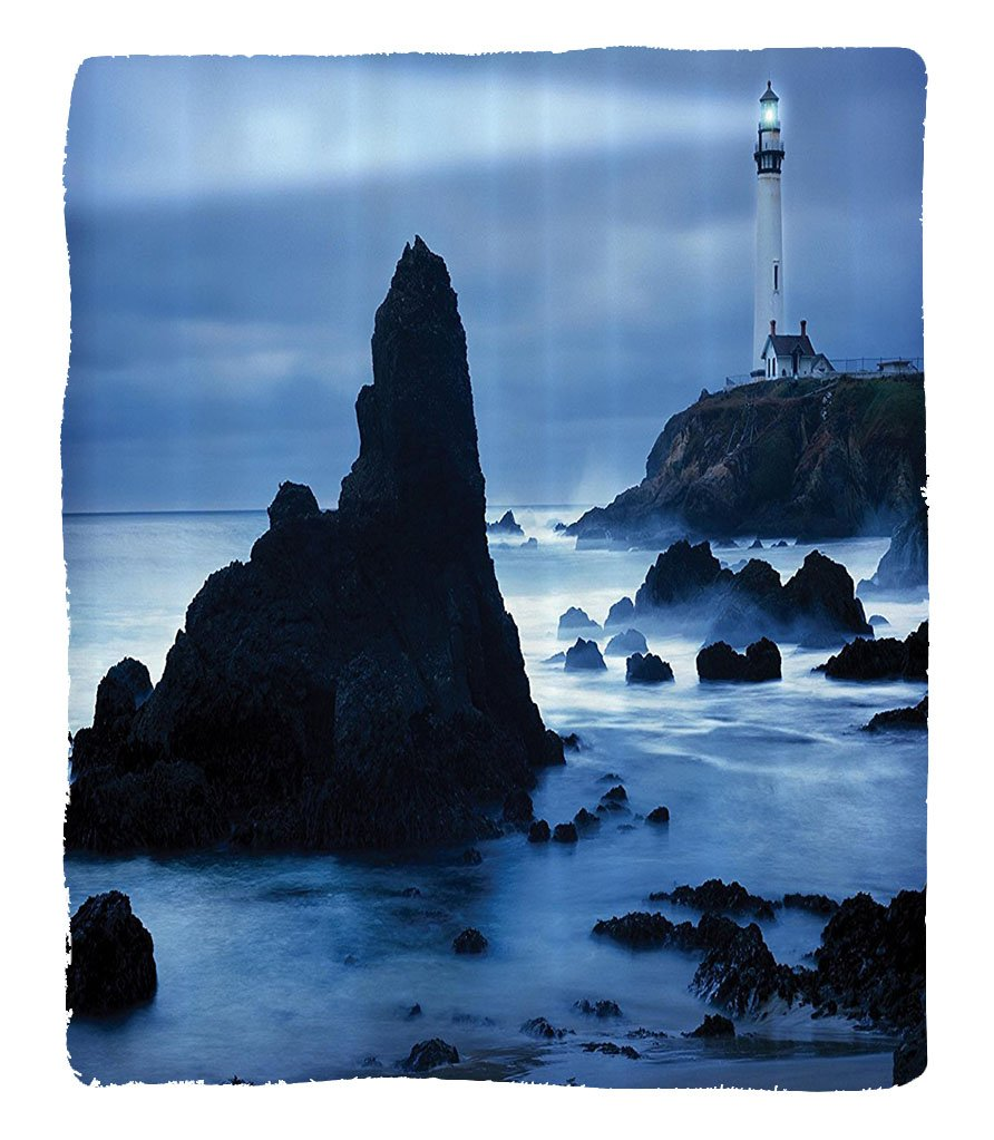 Chaoran 1 Fleece Blanket on Amazon Super Silky Soft All Season Super Plush Lighthouse Decor Collection Lighthouse at the California Coast with Light Beam Peaceful Foggyurface Twilight Image Fabric et by chaoran