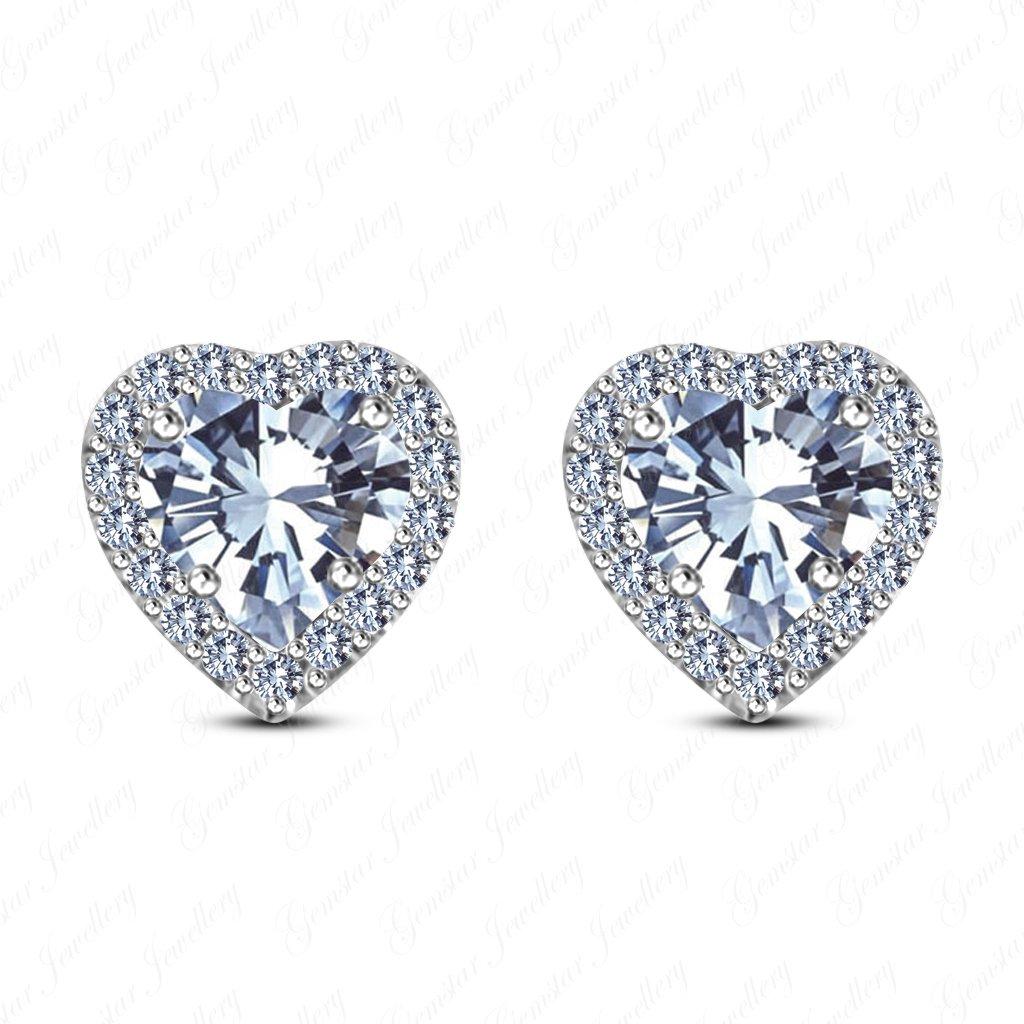 Gemstar Jewellery Round Cut Yellow Citrine 18K Black Gold Plated Screwback Engagement Halo Stud Earrings