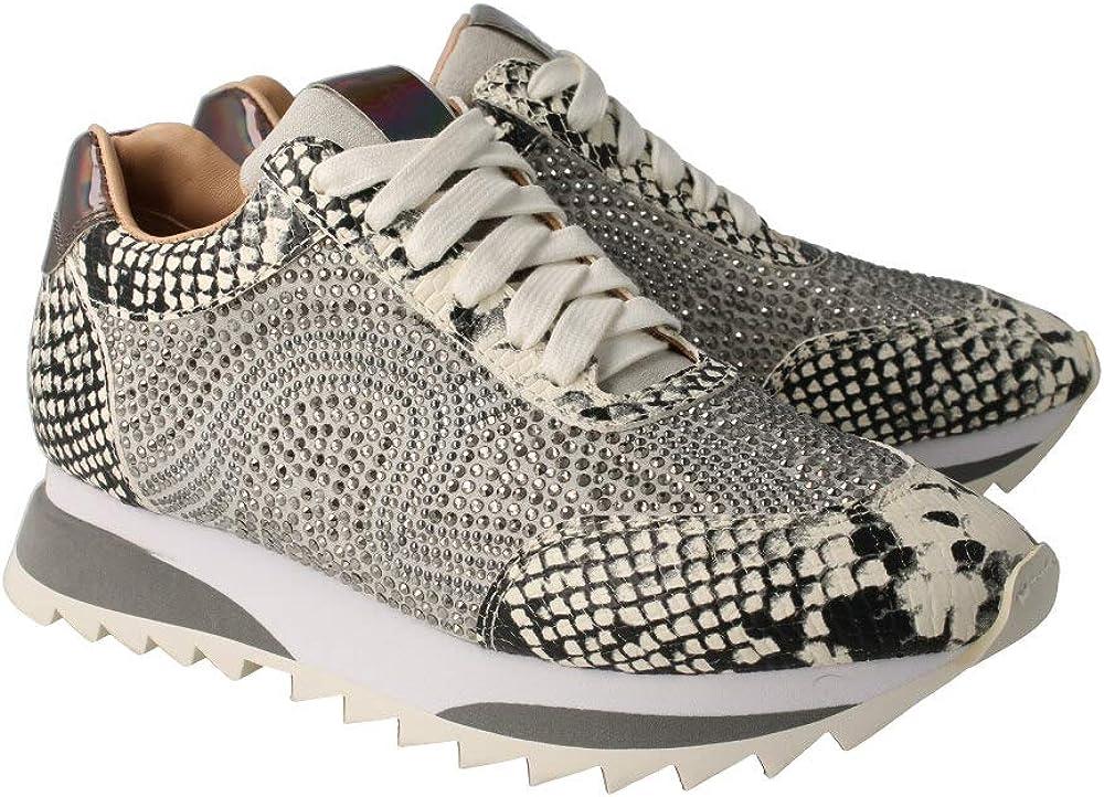 Alma en Pena V20060 – Sneaker mit Schnürsenkeln und Strasssteinen aus Leder mit Gravur, Schlange, Weiß Weiß