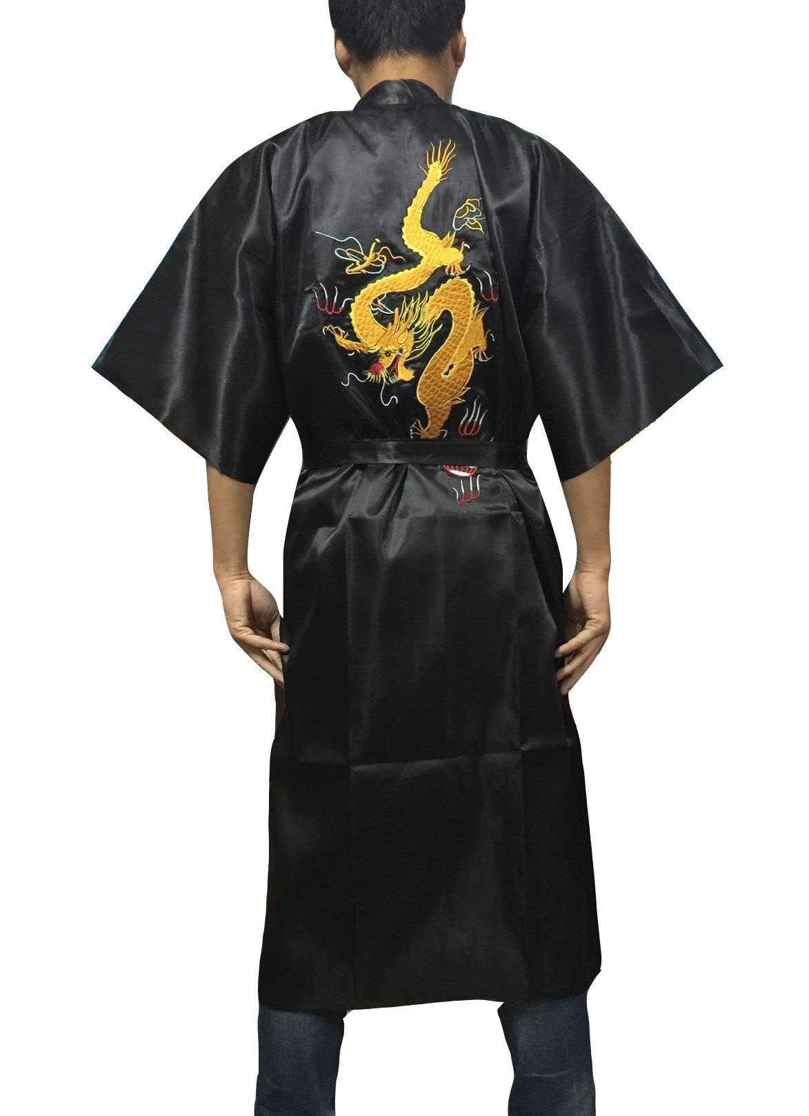 YueLian Men's Long Satin Chinese Dragon Embroidery Robe Kimono Bathrobe Sleepwear Black