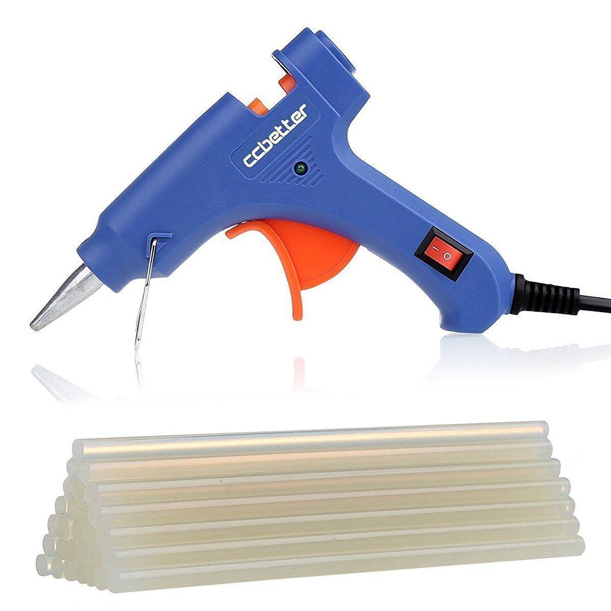 CCbetter Mini Hot Melt Glue Gun with 25pcs Glue Sticks High Temperature Melting Glue Gun Kit Flexible Trigger for DIY Small Craft Projects Sealing and Quick Repairs 20-watt, Blue