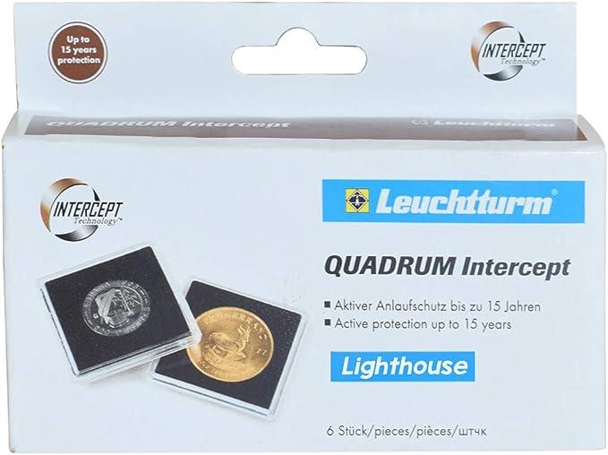Cápsulas para monedas QUADRUM Intercept, diámetro 41 mm, negra