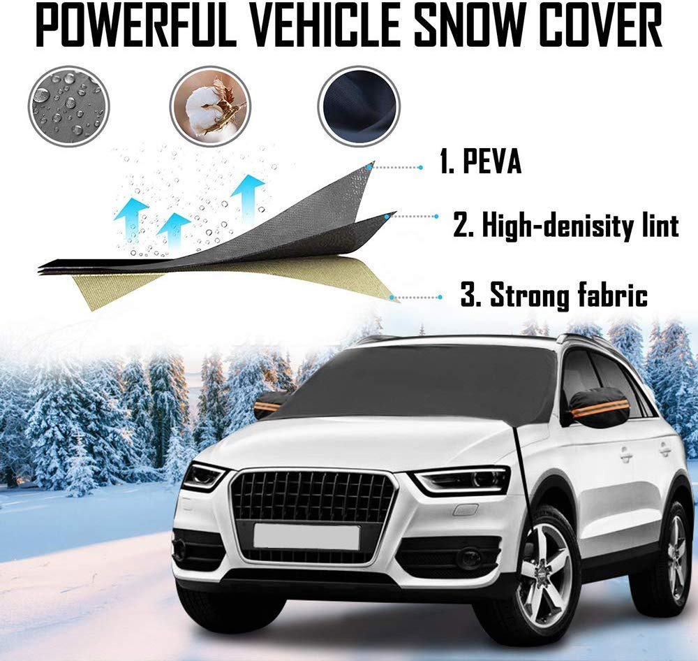 Windshield Snow Ice Cover for Car Winter Frost Guard Protector Waterproof Snow Protection Cover Shade Waterproof Sun Protection with Mirror Snow Covers LAVIZO Frost Windshield Cover 2019 Newest