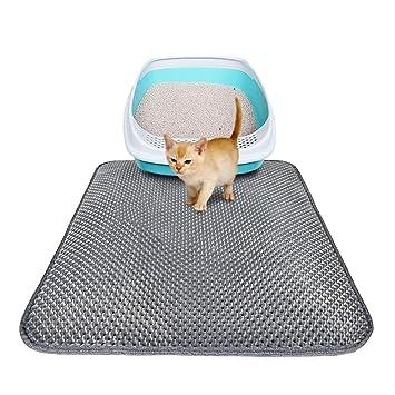 Pawaca Alfombrilla de arena para gatos, antideslizante, doble capa impermeable, diseño de panal de abeja para gatos pequeños: Amazon.es: Hogar