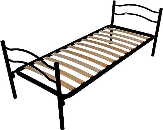 Cama individual con somier ortopédico de láminas, incluye cabecero y pies (80 x 190 cm)