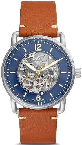 5743d73f4667 Fossil Reloj Analógico para Hombre de Automático con Correa en Cuero  ME3159  Amazon.es  Relojes