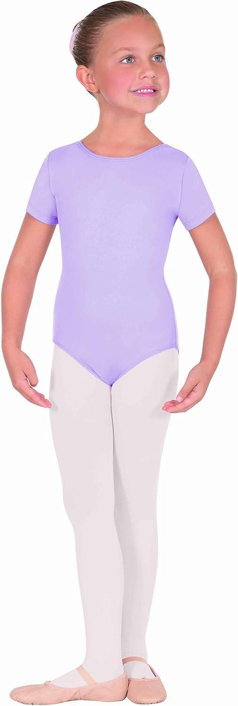 NWT EUROTARD 44475C Black Short Sleeve Girls Microfiber Leotard Dance Ballet