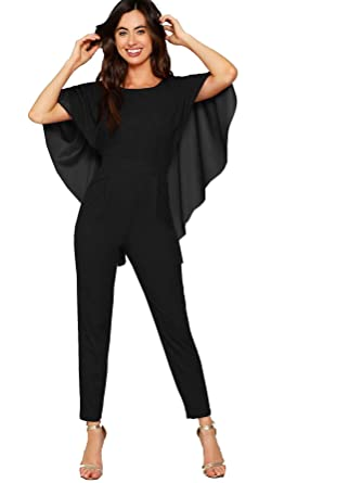95d09b0d7551 Romwe Women s Summer Elegant Backless Batwing Sleeve Cape Jumpsuit Black 4  X-Small