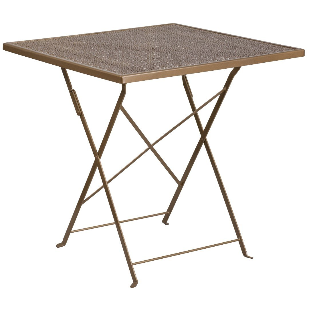 MFO 28'' Square Gold Indoor-Outdoor Steel Folding Patio Table