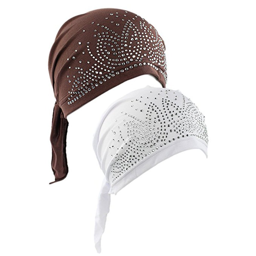 Women's Scarf Pre Tied Chemo Hat Beanie Turban Headwear for Cancer Patients 2 Pack (Coffee/White)