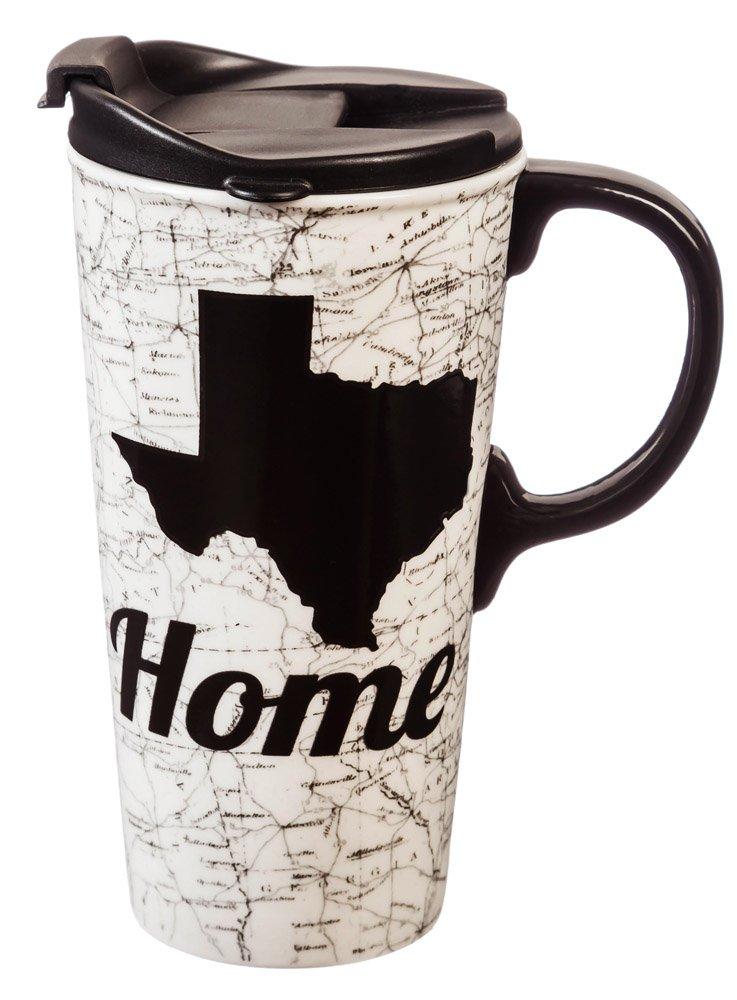 Cypress Home Texas Ceramic Travel Coffee Mug, 17 ounces