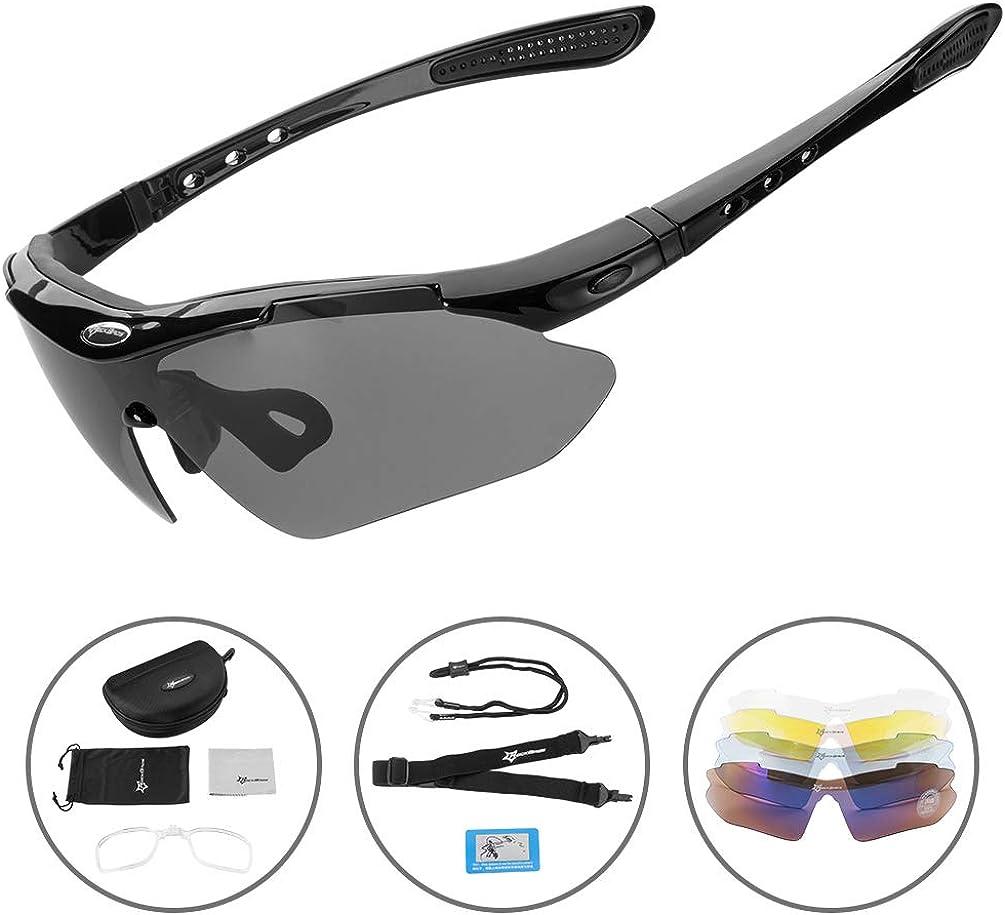RockBros Polarized Cycling Sunglasses Bike Goggles Hiking Glasses Black Red