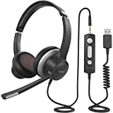 Mpow HC6 USB Headset with Microphone, Comfort-fit Office Computer Headphone, On-Ear 3.5mm Jack Call Center Headset for Cell P