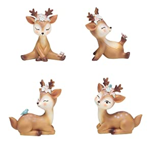 Youfui Cake Topper Party Supplies Cake Decoration for Girls, Birthday Party, Baby Shower & Wedding Home Decor Car Interior Decoration (4pcs Deers Eden)