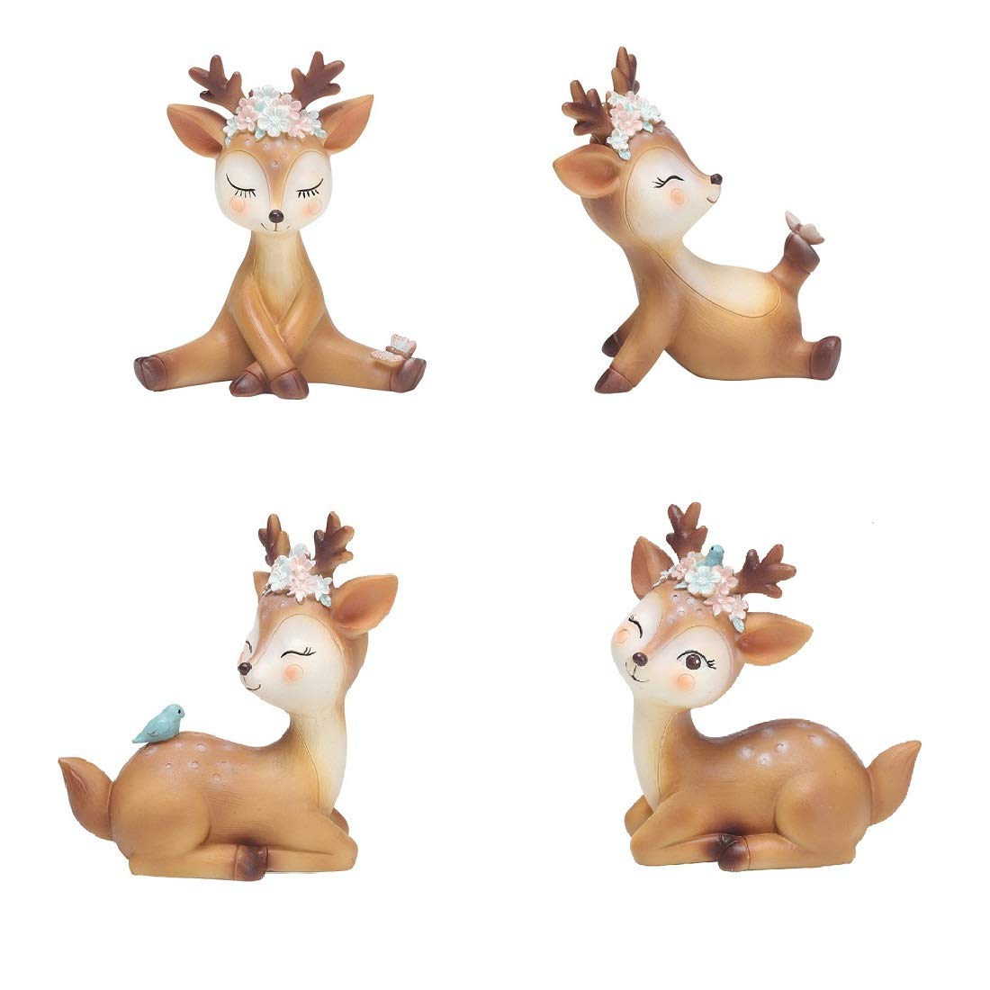 Youfui Cake Topper Party Supplies Cake Decoration for Girls, Birthday Party, Baby Shower & Wedding Home Decor Car Interior Decoration (4pcs Deers Eden) by Youfui (Image #1)