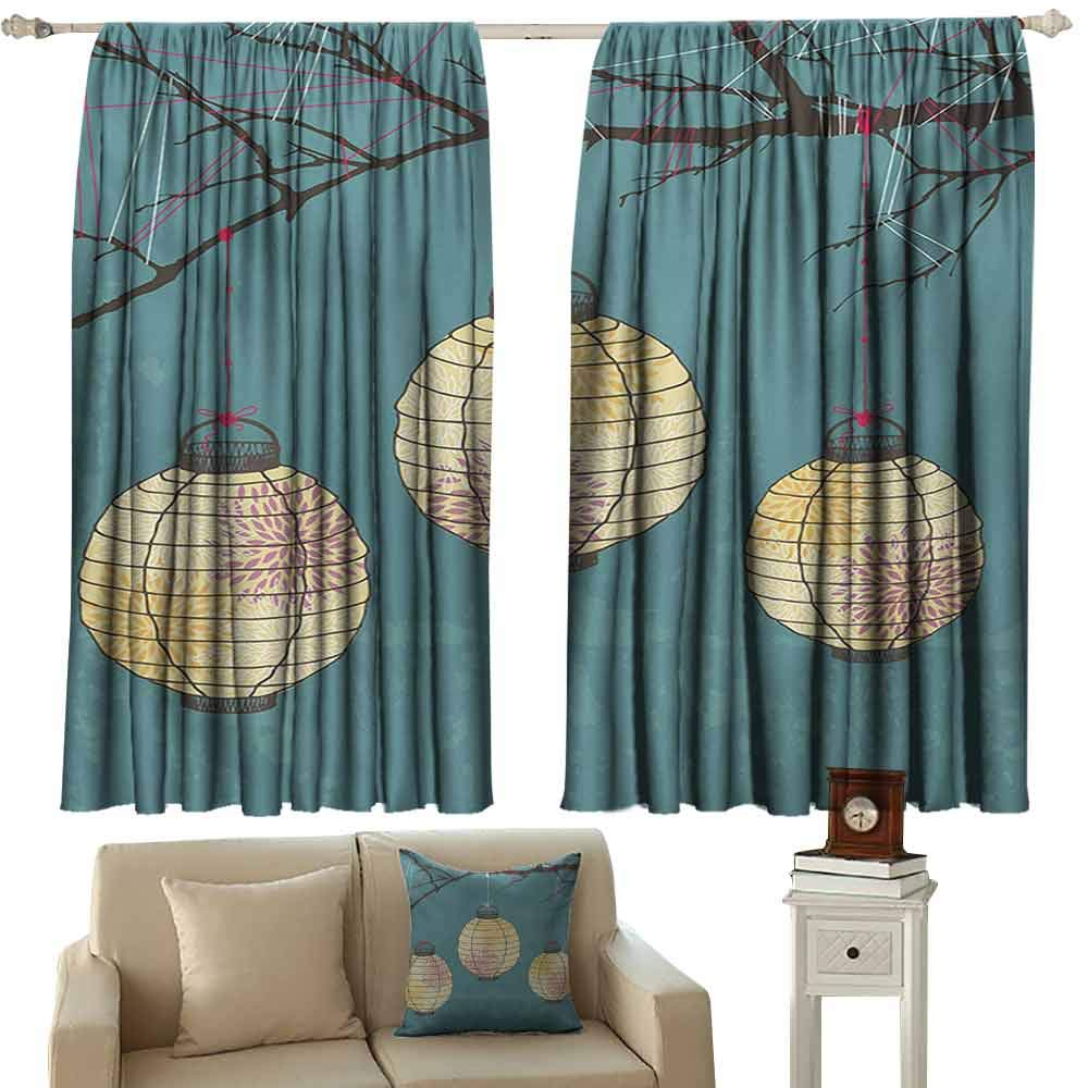 DuckBaby Novel Curtains Lantern Three Paper Lanterns Hanging on Branches Lighting Fixture Source Lamp Boho Blackout Draperies for Bedroom Living Room W63 xL63 Teal Pale Yellow