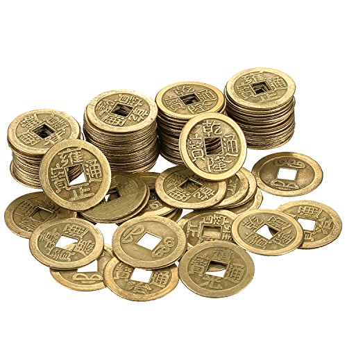 Hestya 1 Inch Chinese Fortune Coins Feng Shui I-Ching Coins Chinese Good Luck Coins Ancient Chinese Dynasty Time Coin (100) -