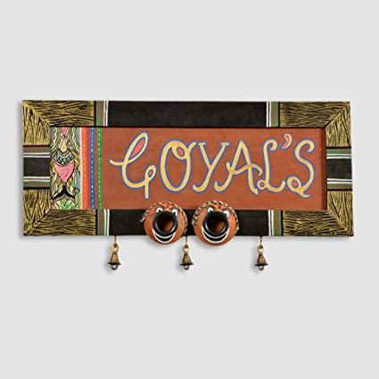 ExclusiveLane Nazar Battu Madhubani Handpainted Customizable Name Plate  With Handwritten Fonts   Wall Hanging Décor Home