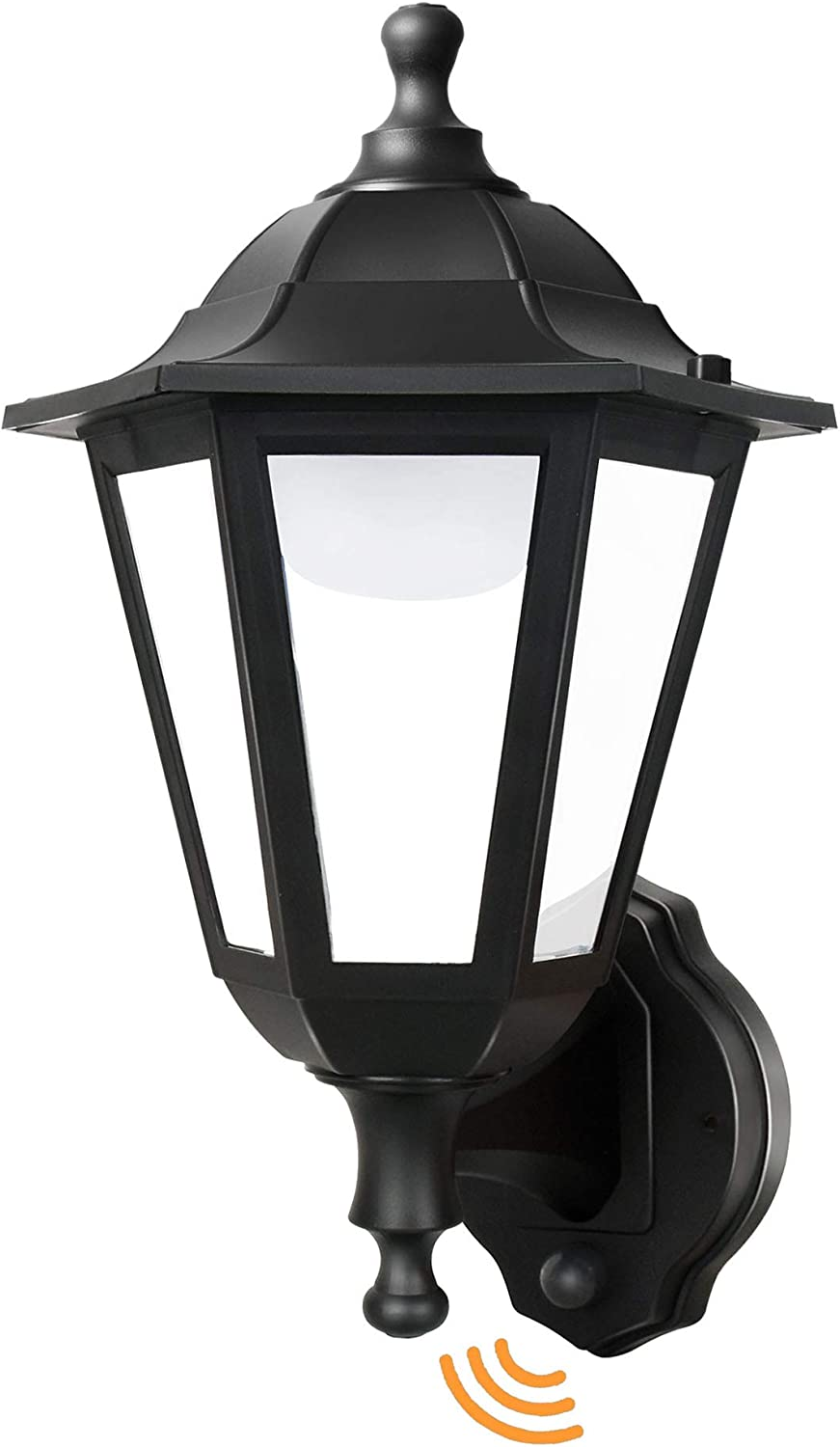 Amazon Com Fudesy Traditional Style Led Outdoor Wall Lantern With Motion Sensor Black Polypropylene Plastic Porch Lamp With Clear Acrylic Lenses Waterproof Porch Light Fixtures P616 Pir Home Improvement