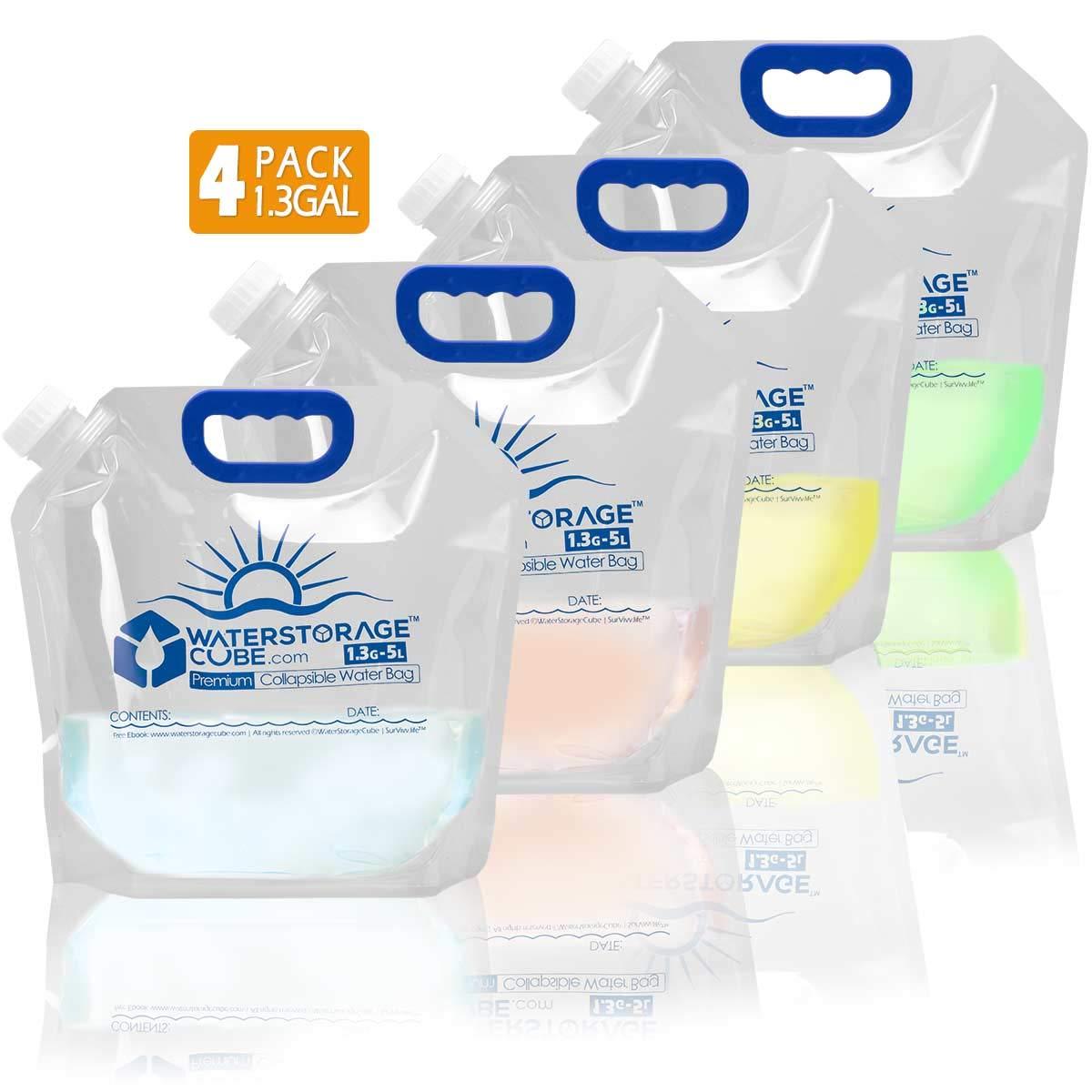 ポータブル緊急&キャンプ用水ストレージコンテナ 冷凍可能な水筒キャリア アウトドアバックパッキング ハイキング BPA不使用 食品グレード (1.3/2.6ガロン) (4) PACK 1.3gal
