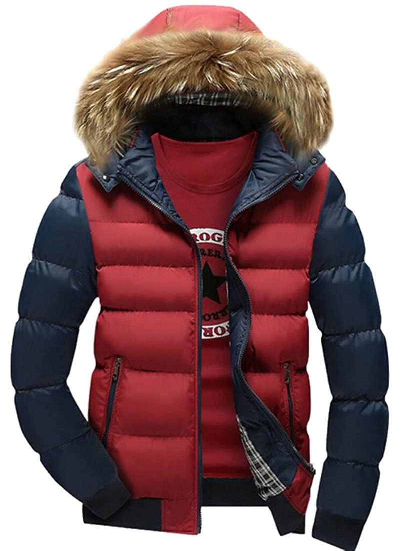 YONGM Mens Fashion Puffer Coat Casual Fur Hooded Winter Outwear Jacket