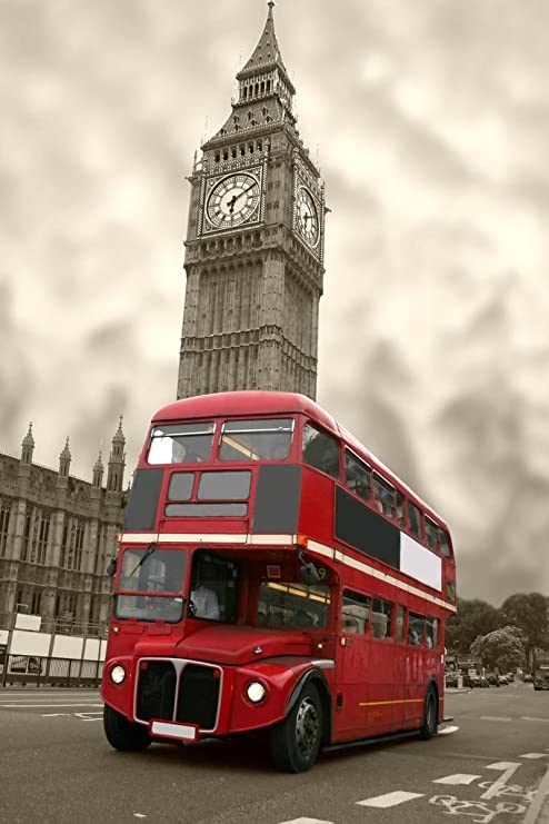 LONDON RED BUS POSTER WESTMINSTER BIG BEN HOUSE OF COMMONS WALL ART HUGE IMAGE