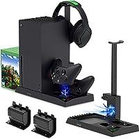 TwiHill Suporte de carregamento com ventilador de resfriamento para console e controlador Xbox Series X, acessórios de…