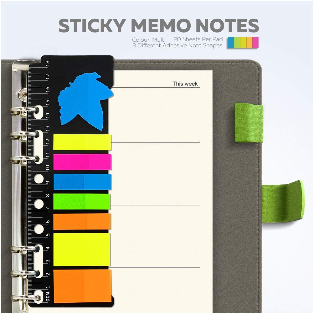 Contrasto di Colore KKdragon Taccuino A5 Copertina Rigida Sticky Memo Notes PU Stile Tela 6 Fori ad Anelli Piano Settimanale e Righe Linee Ivory-Colored Carta 80 Fogli//160 Pagine