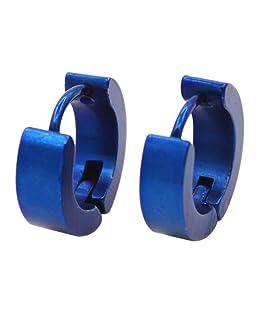 2Stk Edelstahl Herren Creolen Ohrringe Piercing Klappcreolen (Blau)