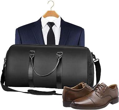 Traje Bolsa de Viaje Equipaje con Bolsa de Zapatos y Correa de Hombro Desmontable Lleve la Bolsa de Ropa para Viajes o Deportes Negro Hombres y Mujeres Traje Bolsa de Viaje