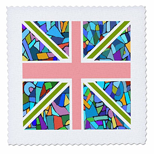 Square Union Comforter (3dRose qs_58320_2 Blue Mosaic Union Jack English Flag Great Britain United Kingdom England Patriotic Design Quilt Square, 6 by 6-Inch)