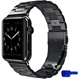 Apple Watch Strap, IWAVION 42mm iWatch Strap Stainless Steel band Wrist Straps Replacement with Durable Folding Metal Clasp for Apple Watch 42mm (Black)