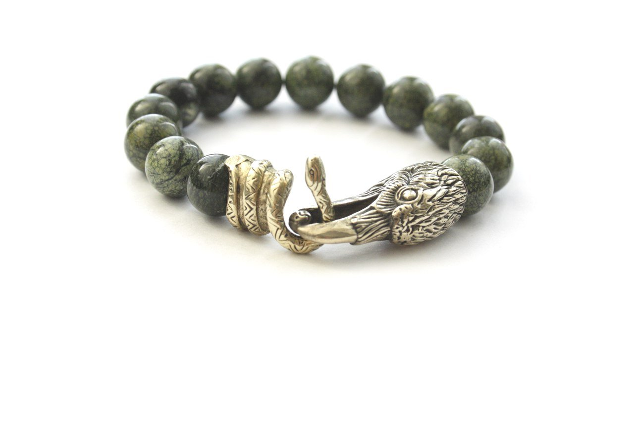 Viking Bracelet Odin's Ravens Head Snake Bronze Stone Vintage Handmade (22)