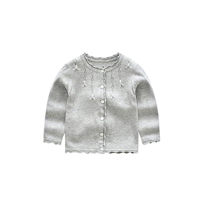 4dc0e0a6117c Amazon.com  XIAOHAWANG Knitted Baby Girls Cardigan Toddler Button up ...