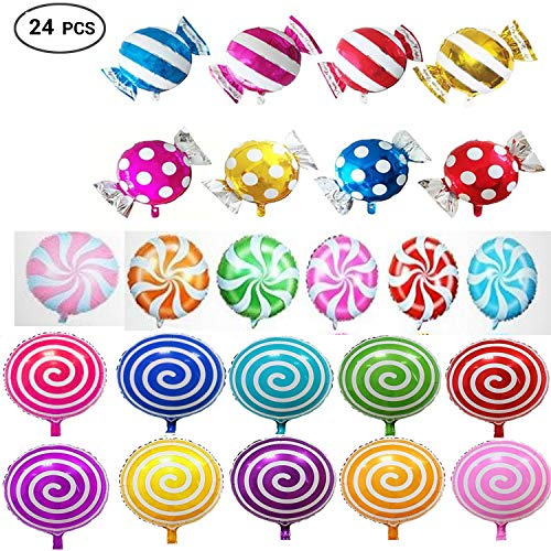 24pcs Sweet Candy Balloons for Birthday Wedding Parties, Including 16pcs Round Lollipop Balloons and 8pcs Candy Lollipop Balloons Aluminum Balloons. -