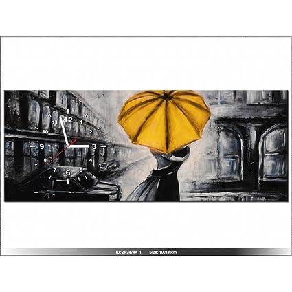 Art-Gallery XXL – 100 x 40 cm – enamorados y paraguas – Reloj de