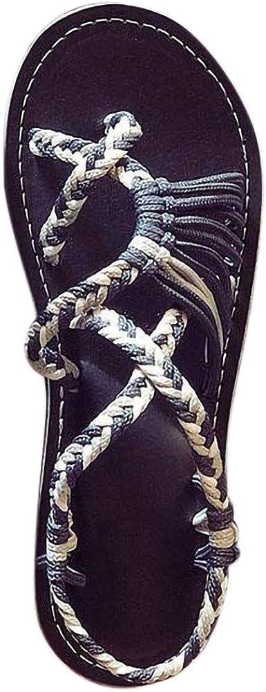 Xinantime Womens Hemp Rope Flip Flops Sandals Summer Hipster Comforty Flat Roman Beach Shoes Slippers