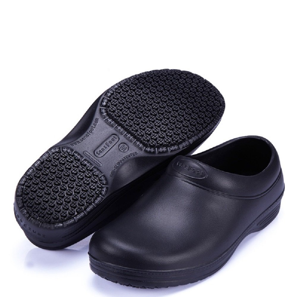 Slip Resistant Safety Work Shoes Unisex Professional Clog Black for Chef (SS=8B (M) Women/6D (M) Men, Black)