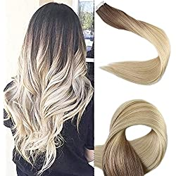 """Full Shine 22"""" Tape on Hair Extensions Human Hair Full Head Real Hair Extensions Color #3 and #8 Brwon Fading to #613 Blonde Skin Weft in Hair Extensions 50g 20 Pcs Per Package"""