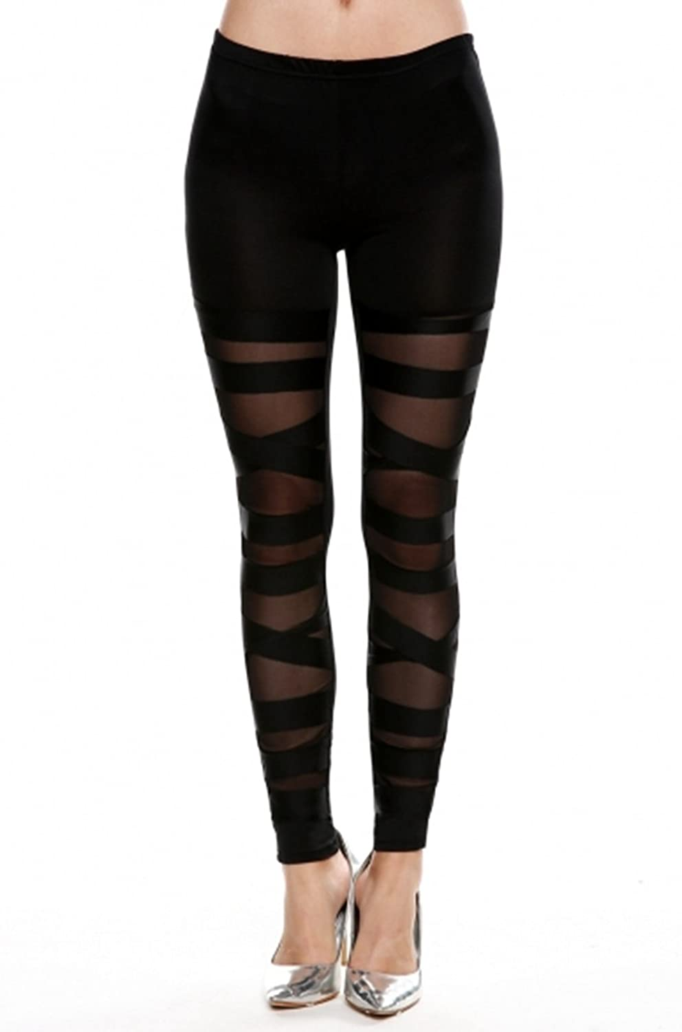 b51558ca6ef Tp Sky Women's Slim Stretch Ripped Bandage Tights Leggings Pants Black at  Amazon Women's Clothing store: