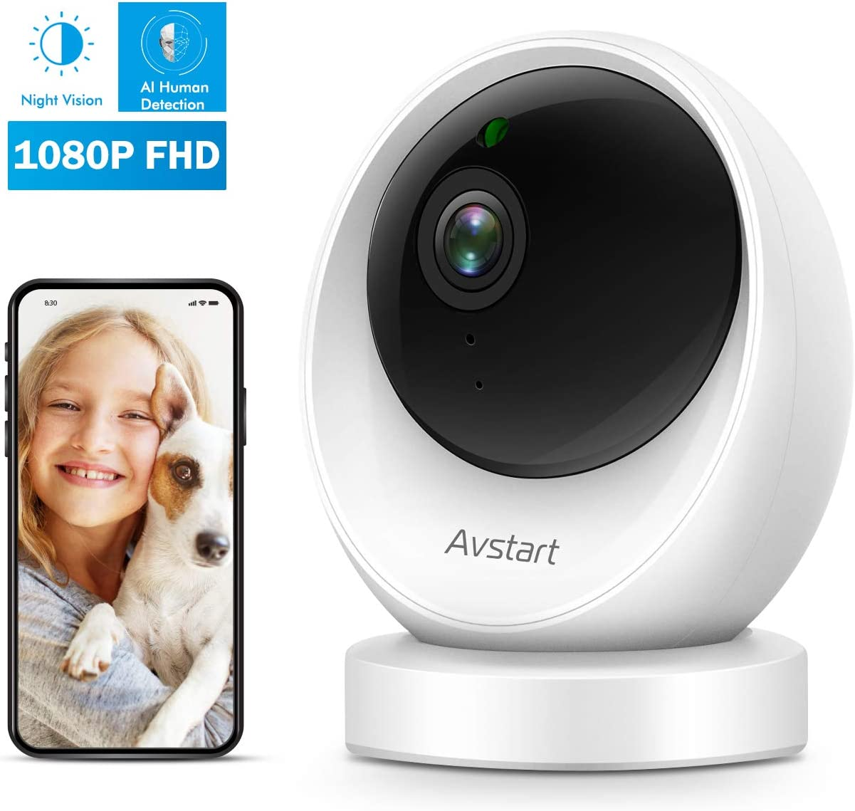 Furbo Dog Camera Treat Tossing, Full HD Wifi Pet Camera and 2-Way Audio, Designed for Dogs, Compatible with Alexa As Seen On Ellen , white 001-01WHTOA-1